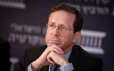 Opposition Isaac Herzog attends an Israel Democracy Institute conference in Jerusalem on May 25, 2016. (Photo by Yonatan Sindel/FLASH90)