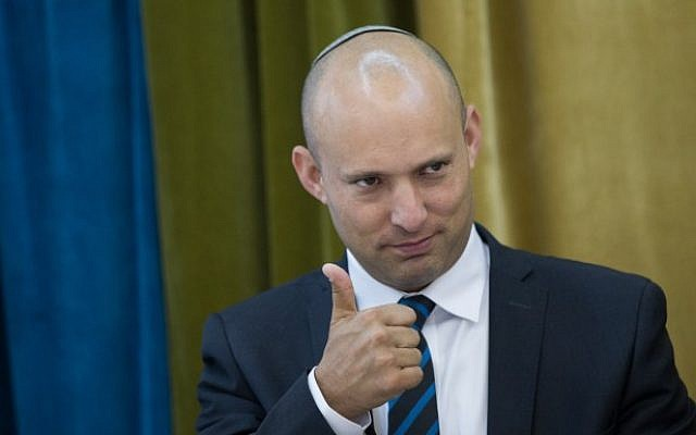Education Minister Naftali Bennett seen during a meeting with school students, Jerusalem, May 29, 2016. (Yonatan Sindel/Flash90)
