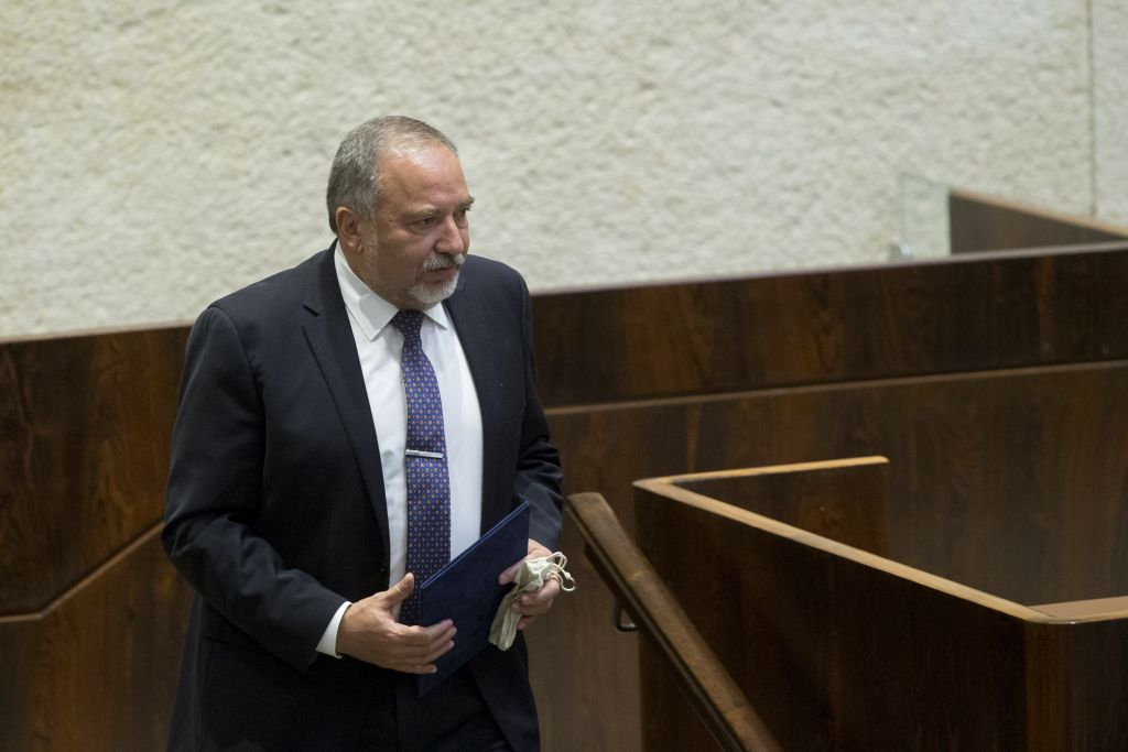Israel's new Defence Minister Avigdor Lieberman seen at the Knesset during his swearing in on May 30, 2016. (Yonatan Sindel/Flash90)