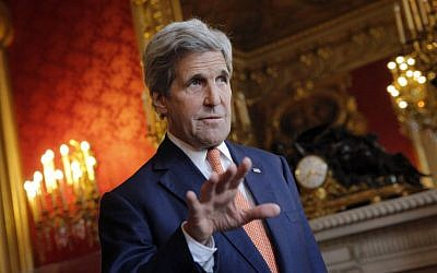 US Secretary of State John Kerry speaks to journalists before a meeting with French Foreign Minister Jean-Marc Ayrault in Paris, Monday, May 9, 2016. (AP Photo/Christophe Ena)
