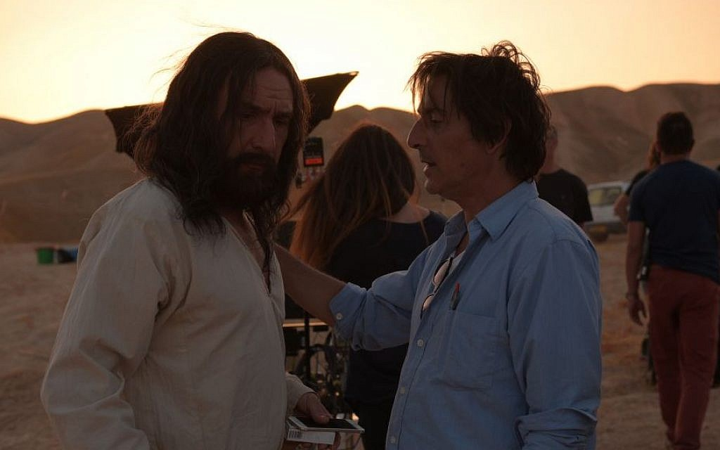 Director Yvan Attal, right, and Gilles Lellouche -- who plays Jesus -- during filming of 'They are Everywhere' in Israel in 2014 (Wild Bunch Productions/via JTA)