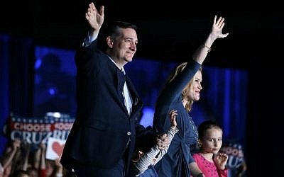 Republican presidential candidate Sen. Ted Cruz, R-Texas, waves with his wife Heidi and daughters Caroline, right, and Catherine during a rally at the Indiana State Fairgrounds in Indianapolis, Monday, May 2, 2016. (AP Photo/Michael Conroy)