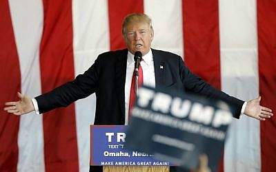 Republican presidential candidate Donald Trump speaks during a rally, Friday, May 6, 2016, in Omaha, Neb. (AP/Charlie Neibergall)