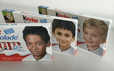 Packages of 'Kinder' bars with childhood pictures of German national soccer players, May 25, 2016. (AP Photo/Ferdinand Ostrop)