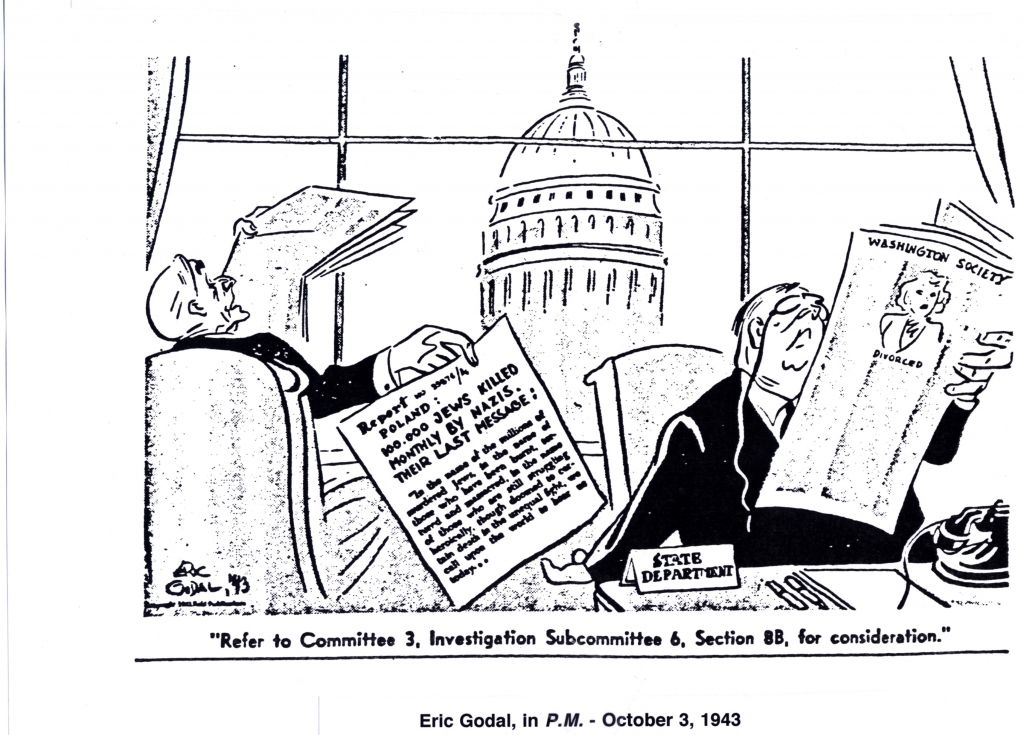 After his mother's deportation back to Germany and her subsequent murder at the hands of the Nazis, Godal inked this scathing criticism of the Roosevelt administration (Reprinted with permission from Cartoonists Against the Holocaust)