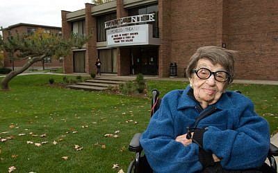 Goldie Michelson in 2008 by the theater that bears her name. (Clark University)