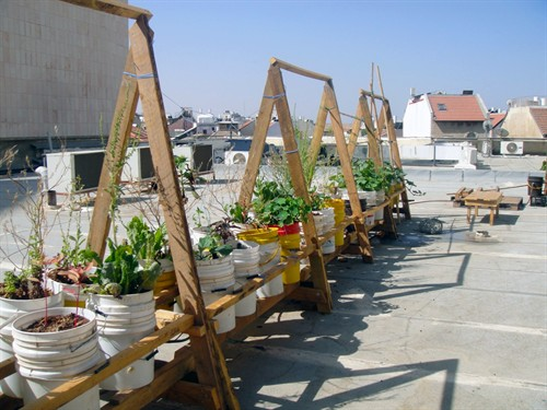 Greening the concrete wasteland of the Clal Building on Agrippas Street, another Muslala art collective project that will be revealed as part of Design Week Courtesy Jerusalem Foundation)