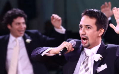 'Hamilton' creator and star Lin-Manuel Miranda performing 'To Life! (L'Chaim!)' from 'Fiddler on the Roof' at his wedding in 2010. (YouTube screenshot via JTA)