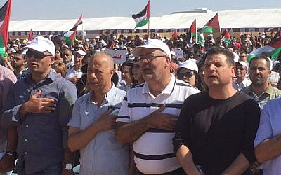 Members of the Joint (Arab) List party, among them party leader Ayman Odeh, take part in Rahat march for Palestinian right of return, May 12, 2016. (Courtesy Joint List)