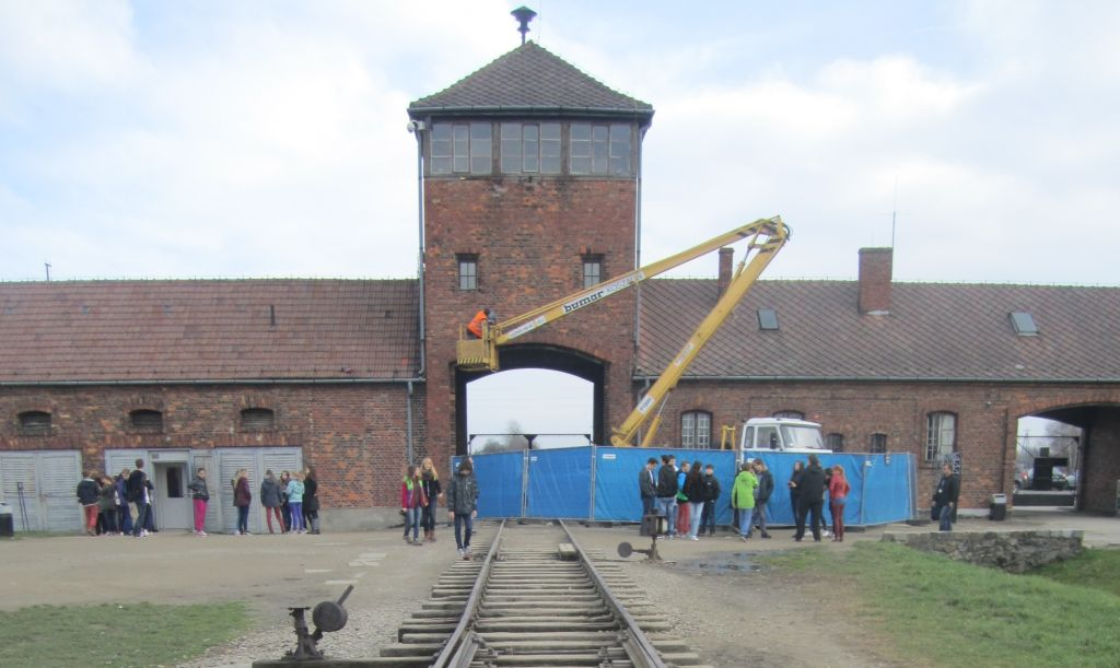 SS guard tower structure undergoes repair at Auschwitz-Birkenau, the former Nazi-built death camp in Poland in which one-million Jews were murdered, November 2014 (Matt Lebovic/The Times of Israel)