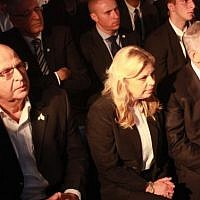 From left to right, then-defense minister Moshe Ya'alon sitting next to Sara and Prime Minister Benjamin Netanyahu, at a Memorial Day ceremony in the Knesset on Tuesday, May 10, 2016. Yitzhak/Harari/Knesset spokesperson)