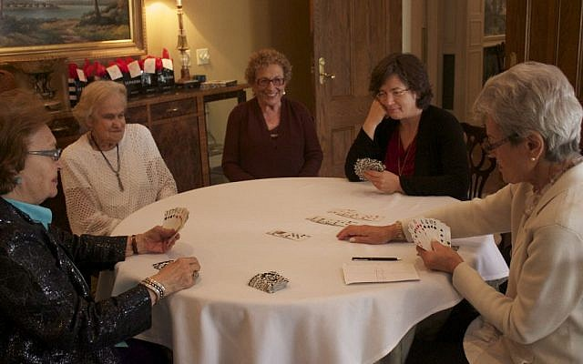 Author Betsy Lerner (second from right) playing with the Bridge Ladies. (Courtesy)