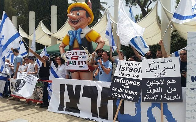 This photo from the Nakba Day event at Tel Aviv University on May 15, 2016, shows a 15-foot tall Pinocchio erected by members of the right-wing Im Tirtzu  organization. (Credit: Or Buchbut)