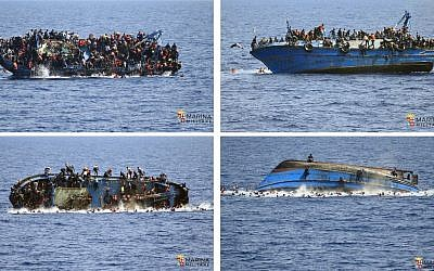 In this four-picture combo people file photo try to jump in the water right before their boat overturns off the Libyan coast, Wednesday, May 25, 2016.  (Italian navy via AP Photo)