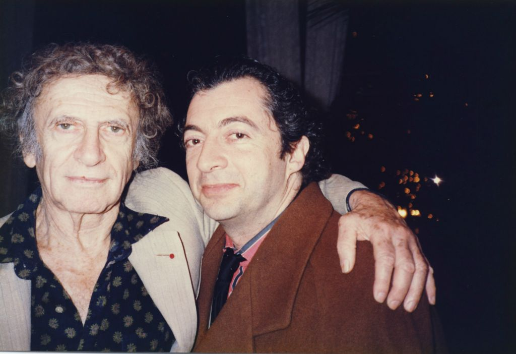 Philippe Mora, right, with his godfather, famous French-Jewish mime and member of the French Resistance, Marcel Marceau in 1993 (courtesy)