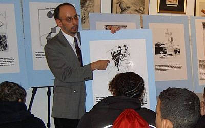 Dr. Rafael Medoff speaks to New York City students on how editorial cartoonists tried to sound the alarm about Nazi Germany, May 2016. (Reprinted with permission from 'Cartoonists Against the Holocaust')
