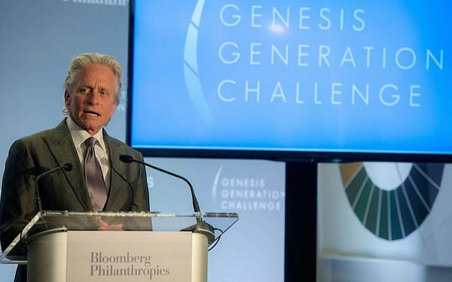 Michael Douglas speaking at the announcement of the Genesis Generation Challenge winners at Bloomberg Philanthropies headquarters in New York City on April 28, 2015. (Flickr via JTA)