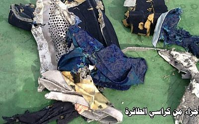 "This picture posted Saturday, May 21, 2016 on the official Facebook page of the Egyptian military's spokesman shows part of a plane chair from EgyptAir flight 804. Search crews found floating human remains, luggage and seats from the doomed EgyptAir jetliner Friday but face a potentially more complex task in locating bigger pieces of wreckage and the black boxes vital to determining why the plane plunged into the Mediterranean. Arabic reads: ""Part of plane chair."" (Egyptian Armed Forces via AP)"