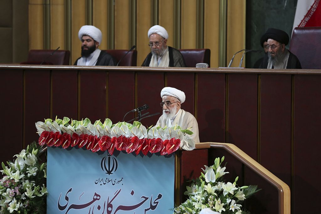 In this photo released by the official website of the office of the Iranian Presidency, hard-line Iranian cleric Ayatollah Ahmad Jannati speaks during an inaugural meeting of the Assembly of Experts in Tehran, May 24, 2016. Jannati was chosen on Tuesday as speaker of the Assembly of Experts, a clerical body that is mainly tasked with selecting the country's supreme leader. The official IRNA news agency said 89-year-old Ayatollah Ahmad Jannati won 51 votes in the 88-seat Assembly and would serve as speaker for the next two years. (Iranian Presidency Office via AP)
