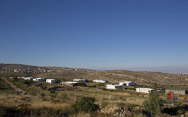 This Wednesday, May 18, 2016 photo shows Amona, an Israeli outpost in the West Bank, east of the Palestinian town of Ramallah. (AP Photo/Oded Balilty)