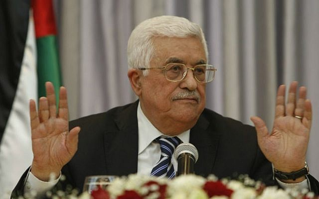 Palestinian Authority President Mahmoud Abbas during a press conference in the West Bank city of Bethlehem, January 6, 2016 (AP/Majdi Mohammed, File)