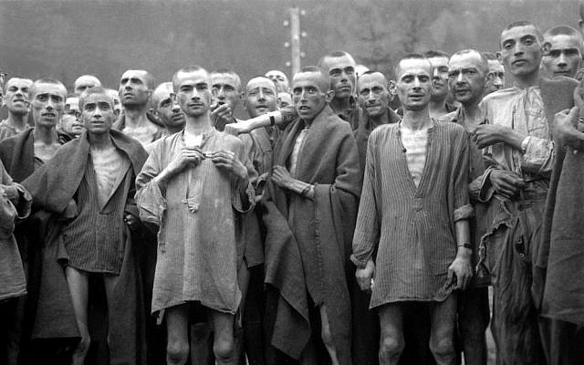 Starving prisoners of the Ebensee concentration camp in Austria, a subcamp of the Mauthausen concentration camp, photographed by an American soldier at liberation on May 6, 1945 (National Archives and Records Administration)