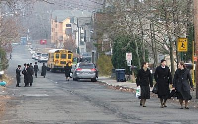 New Square, a village in Rockland County, New York, is home to the Skverer Hasidic group. (Uriel Heilman/JTA)