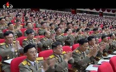 In this image made from video by North Korean broadcaster KRT, military officers applaud as North Korean leader Kim Jong Un gives a speech at the party congress in Pyongyang, North Korea, Saturday, May 7, 2016. (KRT via AP Video)