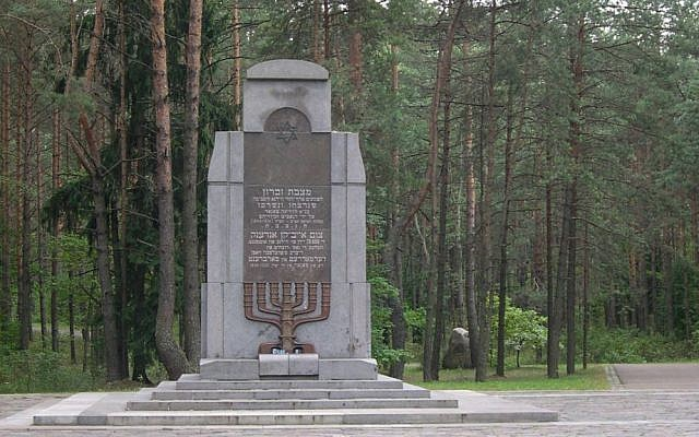A memorial for the Jewish victims of the Ponary Massacre just outside of Vilnius, Lithuania. 70,000 Jews, along with 28,000 more Poles and Russians, were murdered near the railway station of Ponary between July, 1941 and August, 1944 (Wikimedia commons)
