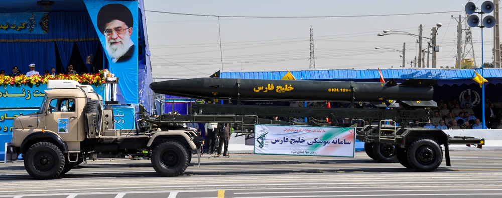 A Khalij Fars ballistic missile on a transporter during a military parade in Iran. (Iranian military/CC BY-SA 3.0/WikiMedia)