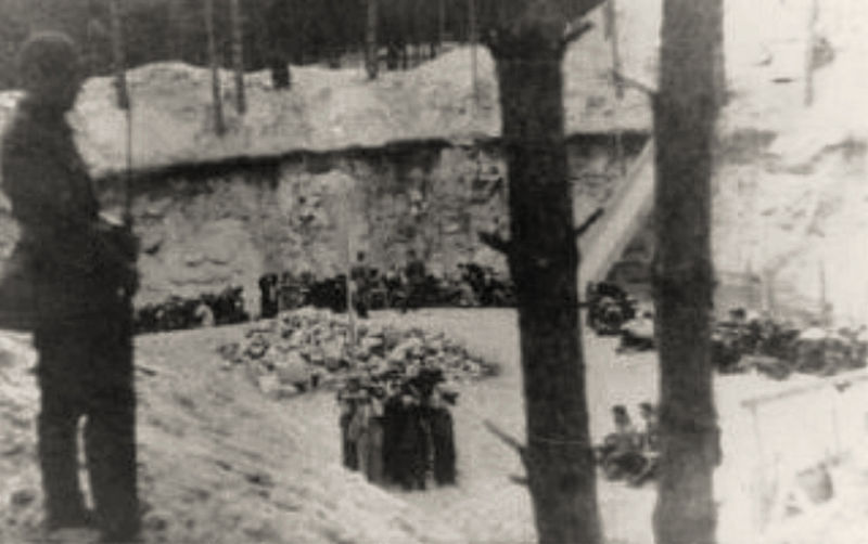 Nazi killing squad murders Jews from Vilna in the Ponary forest, 1941 (public domain)