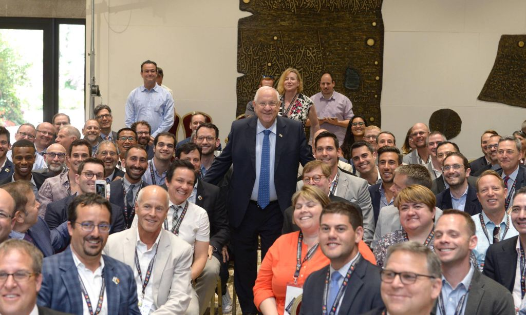 Illustrative: Israeli President Reuven Rivlin meets with US Jewish LGBT community leaders on May 31, 2016 (Mark Neiman/GPO)