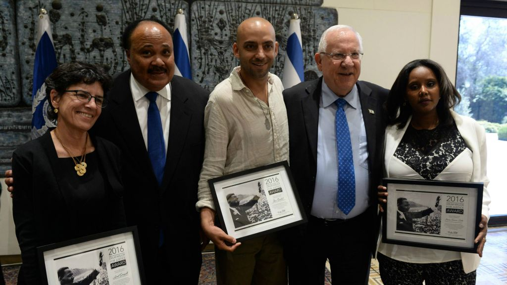 Journalist Anat Saragusti (from left), Martin Luther King III, singer Idan Raichel
