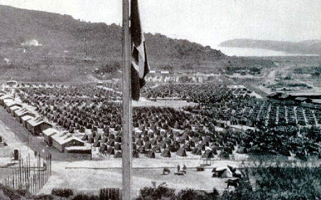 The Italian flag hangs over the Rab concentration camp, where Costabel was held. The island of Rab in the Adriatic sea was occupied by Italy and is now a part of Croatia (Public domain via Wikimedia Commons)