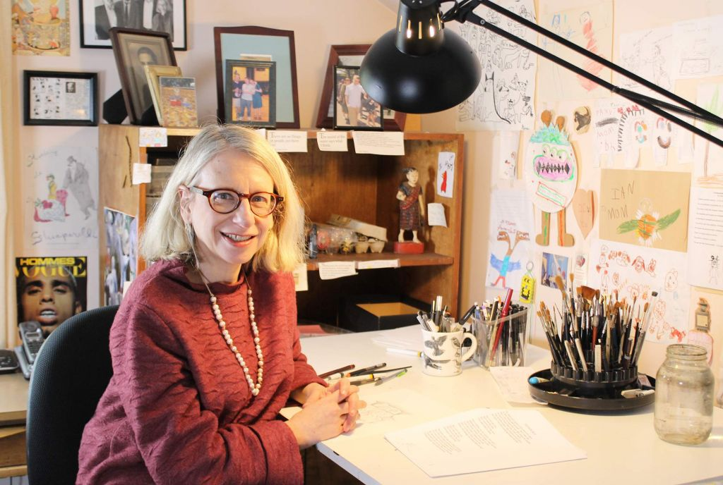 Roz Chast in her Studio, 2015 (Jeremy Clowe/ Norman Rockwell Collections)