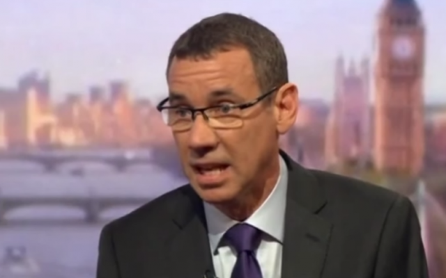 Israel's Ambassador to the UK Mark Regev, interviewed by the BBC on May 1, 2016 (BBC screenshot)