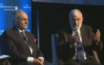 Saudi Arabia's Prince Turki al-Faisal and Maj. Gen. (ret.) Yaakov Amidror, Prime Minister Benjamin Netanyahu's former national security adviser, share a platform at the Washington Institute, May 5, 2016. (Washington Institute screenshot)
