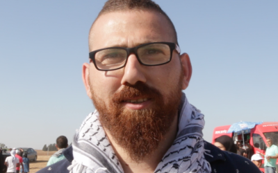 Screen shot Anan Muzalbet, 25, from Maghar, who attended the March of Return in the Negev desert on May 12, 2016. (Luke Tress / Times of Israel)