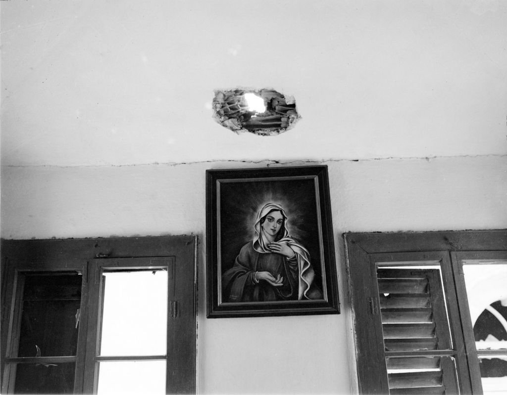 A shell hole in Old City home (Courtesy Ali Zaarour/Zaarour family collection)
