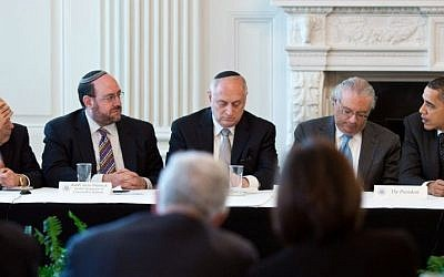 US President Barack Obama, far right, with leaders of the Conference of Presidents of Major American Jewish Organizations at the White House, March 1, 2011. (Pete Souza/White House)