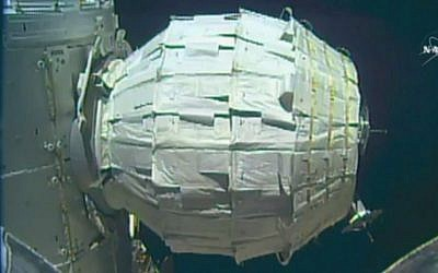 This image made from video provided by NASA shows the inflation of a new experimental room at the International Space Station on Saturday, May 28, 2016. (NASA via AP)