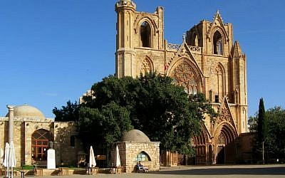 File: Northern Cyprus's Lala Mustafa Pasha Mosque, once the Catholic Saint Nicholas's Cathedral, in Famagusta in Turkish north Cyprus. (Wikipedia/Gerhard Haubold/CC BY-SA 3.0)