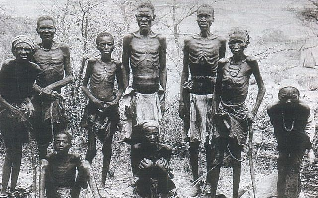 Surviving Herero after an escape through the arid desert of Omaheke in German Southwest Africa (modern day Namibia), circa 1907 (Ullstein Bilderdienst, Berlin)