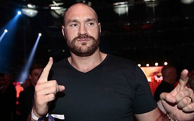 Boxer Tyson Fury before the Heavyweight European Championship at Barclaycard Arena in Hamburg, Germany, May 7, 2016. (Oliver Hardt/Bongarts/Getty Images via JTA)