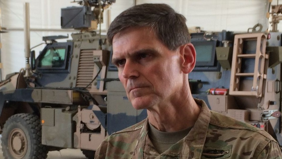 Army Gen. Joseph Votel speaks to reporters at a base in Taji, Iraq, Friday, May 20, 2016 (AP Photo/Robert Burns)