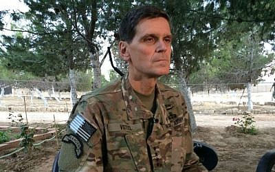 US Army Gen. Joseph Votel speaks to reporters Saturday, May 21, 2016 during a secret trip to Syria. (AP Photo/Robert Burns)