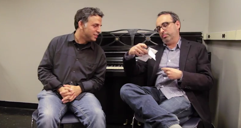 Etgar Keret and Gary Shteyngart in conversation at New York's Symphony Space in April 2012 (Courtesy YouTube screen grab)
