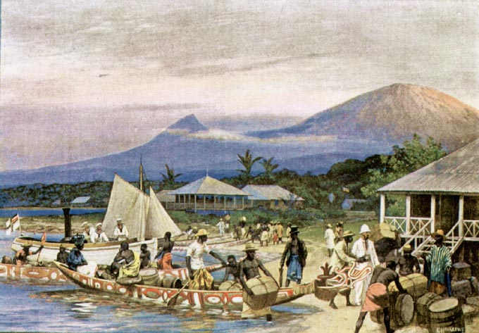 German Cameroon, painting by R. Hellgrewe, 1908 Wikipedia)