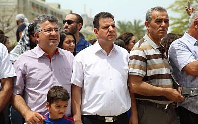 Joint (Arab) List MKs Ayman Odeh and Jamal Zahalka attending the Nakba Day event at Tel Aviv University on May 15, 2016. (Credit: Joint List Spokesperson)