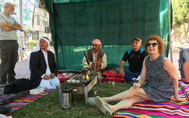 Villagers from Umm al-Hiran sit in a tent on  Rothschild Boulevard, Tel Aviv on May 20, 2016. (Courtesy: Arab List Spokesperson)